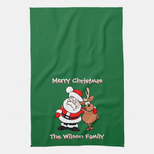 Merry Christmas Personalised Green Tea Hand Towel