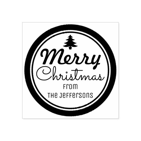 Merry Christmas Personalised Rubber Stamp