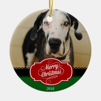 Merry Christmas Personalized Dog Photo Ornament