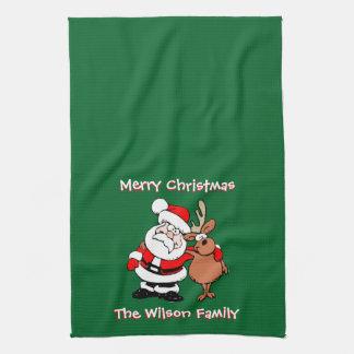 Merry Christmas Personalized Green Tea Tea Towel