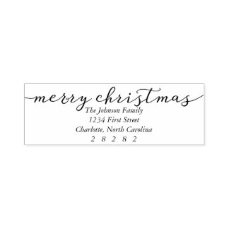 Merry Christmas Personalized Holiday Address Self-inking Stamp