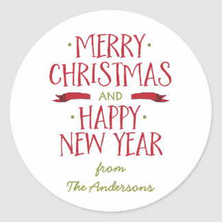 Merry Christmas Personalized Holiday Seal Round Sticker