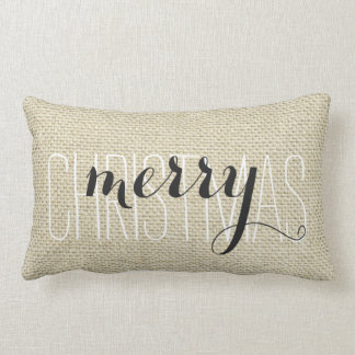 """Merry Christmas"" Personalized Linen Lumbar Cushion"