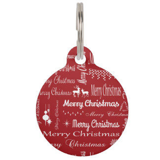 Merry Christmas Pet Name Tag