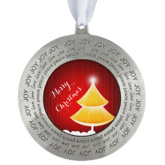 Merry Christmas Round Pewter Christmas Ornament