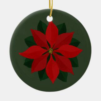 Merry Christmas Photo and Poinsettia Christmas Ornament