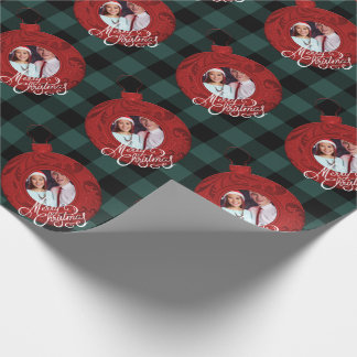 Merry Christmas Photo Buffalo Plaid Red Green Wrapping Paper