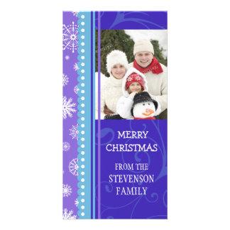 Merry Christmas Photo Card Blue Purple Snowflakes