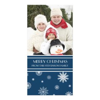 Merry Christmas Photo Card Blue Snow
