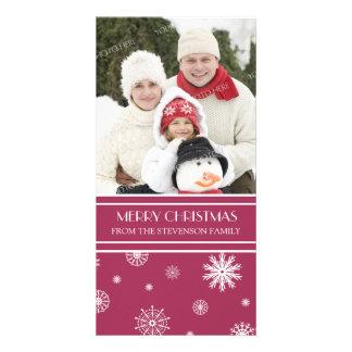 Merry Christmas Photo Card Burgundy Snow