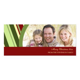 Merry Christmas Photo Card Festive Stripes 10 Cm X 24 Cm Invitation Card