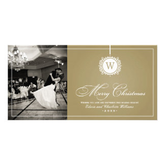 Merry Christmas Photo Card | Gold Monogram