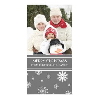 Merry Christmas Photo Card Gray Snow