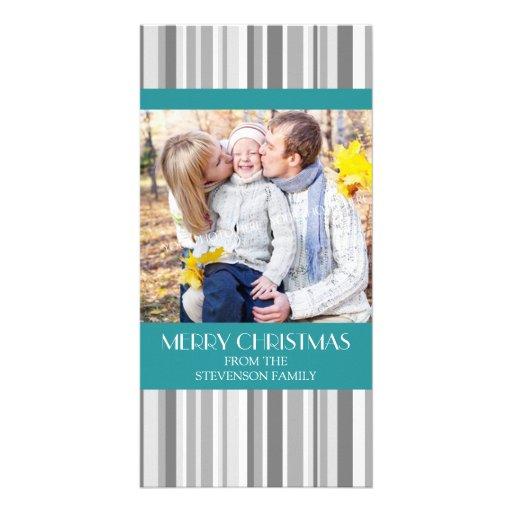 Merry Christmas Photo Card Modern Teal Gray Stripe