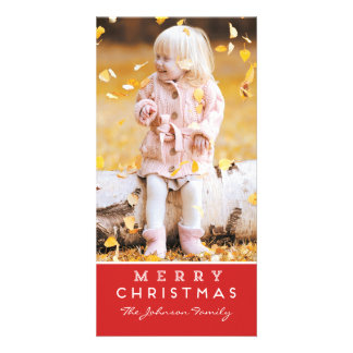 Merry Christmas Photo Card - Red Overlay