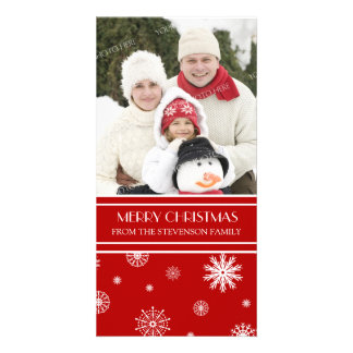 Merry Christmas Photo Card Red Snow