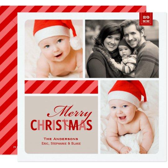 Merry Christmas Photo Card | Red, White, Cream