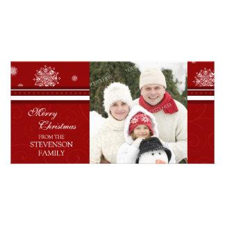 Merry Christmas Photo Card Red White Snowflakes