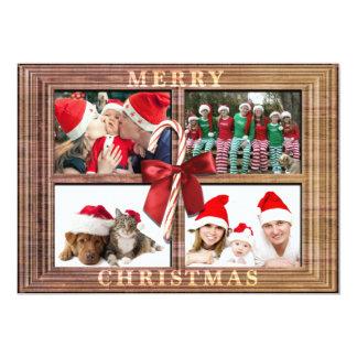 Merry Christmas Photo Card Rustic Faux Wood Frame 13 Cm X 18 Cm Invitation Card