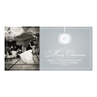 Merry Christmas Photo Card | Silver Gray Monogram