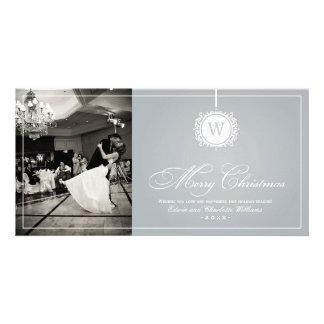 Merry Christmas Photo Card | Silver Gray Monogram