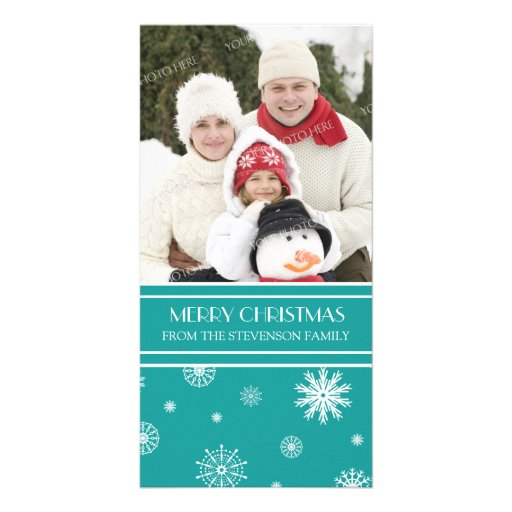 Merry Christmas Photo Card Teal Snow