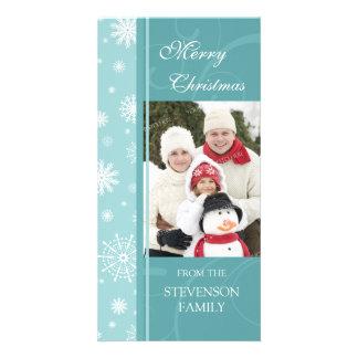 Merry Christmas Photo Card Turquoise Snowflakes