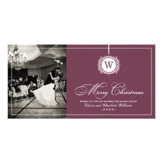 Merry Christmas Photo Card | Wine Red Monogram