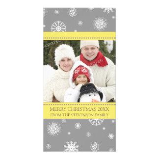 Merry Christmas Photo Card Yellow Grey Snowflakes