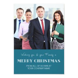 Merry Christmas Photo Cards Blue Business 13 Cm X 18 Cm Invitation Card