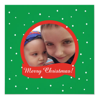 Merry Christmas Photo Frame Green Invitations