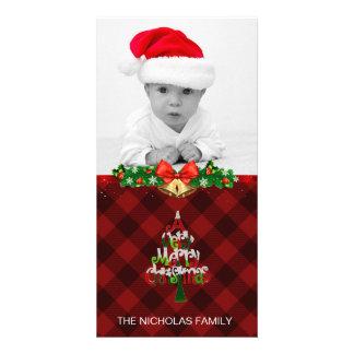 Merry Christmas Photo Holiday Red Buffalo Plaid Card