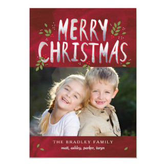 Merry Christmas Photo Holiday Thin Magnetic Card