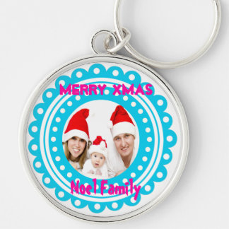 Merry Christmas Photo Keychains-Stocking Stuffer Silver-Colored Round Key Ring