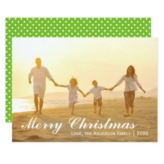 Merry Christmas Photo w/Green Dots - 3x5 Card