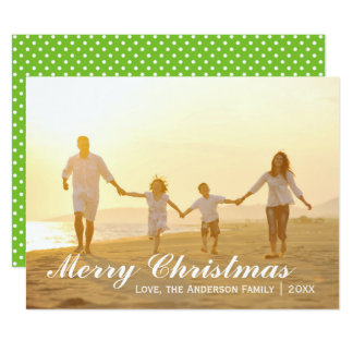 Merry Christmas Photo w/Green Dots - 6x8 Card