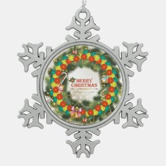 Merry Christmas Pickleball 1-1A Snowflake Ornament