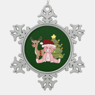 Merry Christmas Pig Pewter Snowflake Decoration