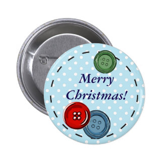 Merry Christmas Pin with Cute Buttons & Stitching