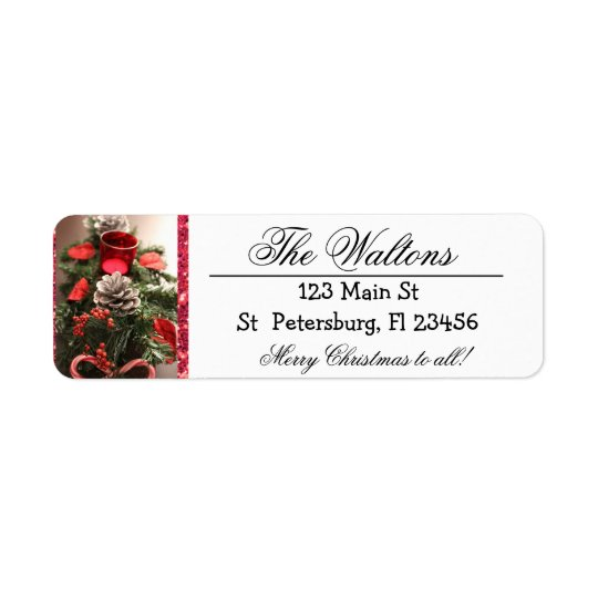 Merry Christmas Pine Cone Return Address Labels