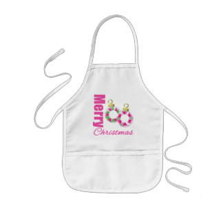 Merry Christmas Pink Candy Cane Ornaments Apron