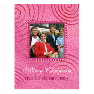 Merry Christmas   Pink Christmas Photo Template Postcard