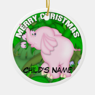 Merry Christmas Pink Elephant Christmas Ornament