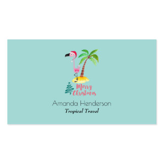 Merry Christmas Pink Flamingo With Palm Tree Pack Of Standard Business Cards