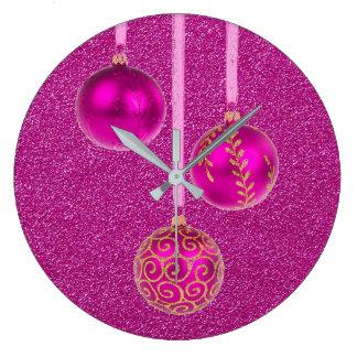 Merry Christmas Pink Glitter Baubles Elegant Large Clock