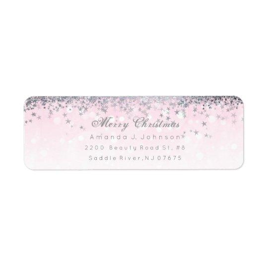 Merry Christmas Pink Silver Stars Snow Confetti Return Address Label