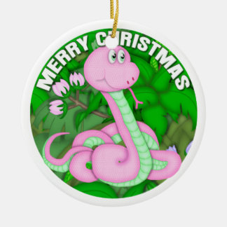 Merry Christmas Pink Snake Christmas Ornament