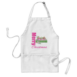 Merry Christmas Pink Whimsical Box Ornaments Adult Apron