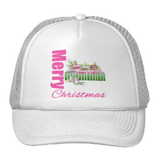 Merry Christmas Pink Whimsical Box Ornaments Mesh Hat