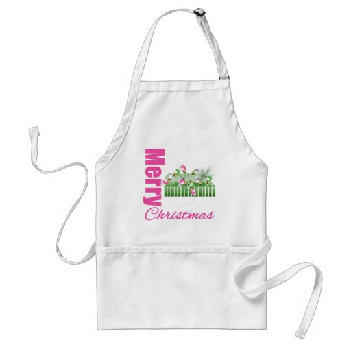 Merry Christmas Pink Whimsical Box Ornaments v2 Aprons